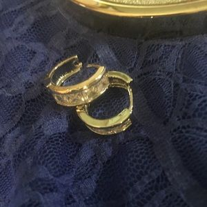 Small Gold Hoop Earrings with Silver Scroll